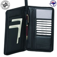 Men's Leather Long Passport Wallet Travel Wallet Credit Card Wristlet Organiser