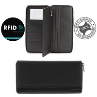 RFID Protected Travel Document Cards Wallet Genuine Soft Leather Black Cobb & Co
