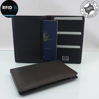 RFID Genuine Full Grain Leather Passport Holder Card Wallet I'd protector holds 2 passports
