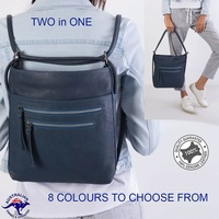 New Genuine Cowhide Leather Convertible Multi Colours Shoulder Bag and Backpack
