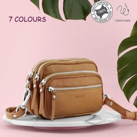 Women's Crossbody Zip Compartments Designer Genuine Soft Leather Bag