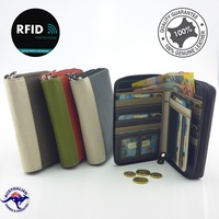 Leather Double Zip Multi Colour RFID Protected Wallet / Purse