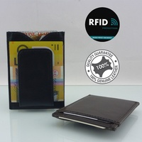 New Genuine Leather Men's RFID Slim Credit Card Holder Money Clip Wallet