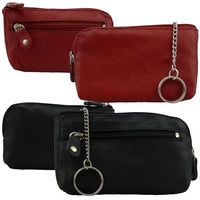 Genuine Leather Men Women Large Zippered Wallet Coin Purse Key Ring Pouch